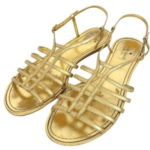 Kate Spade Gold Leather Gladiator Cage Sandals 10